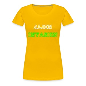Women's Yellow alien invasion white text - Women's Premium T-Shirt