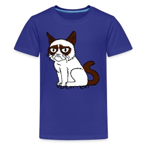 Grumpy Cat (+ Dein Text) 3c - Teenager Premium T-Shirt