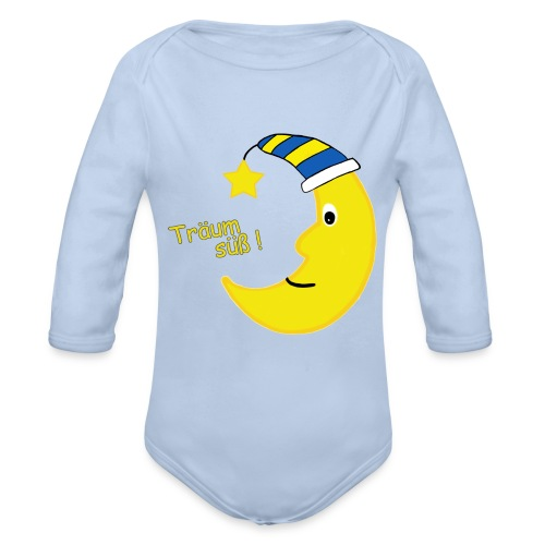 Blauer Babybody mit Mond  - Baby Bio-Langarm-Body