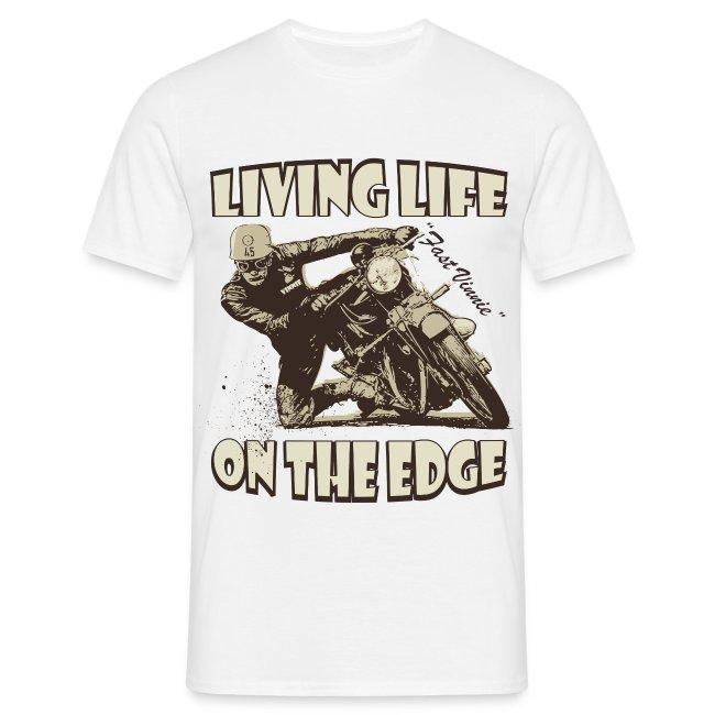 Living life on the edge biker t-shirt