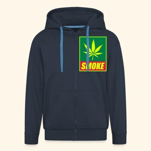 sweat inscription SMOKE et feuille de cannabis - Veste à capuche Premium Homme