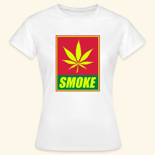 T-shirt inscription SMOKE et feuille de cannabis - T-shirt Femme