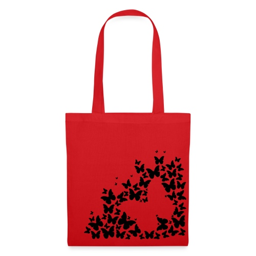 Red tote bag with butterfly design and hetty logo - Tote Bag