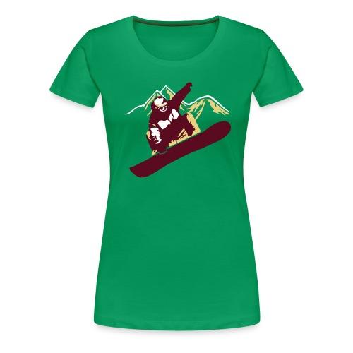 Snowboarder Big Air Mountains - Frauen Premium T-Shirt