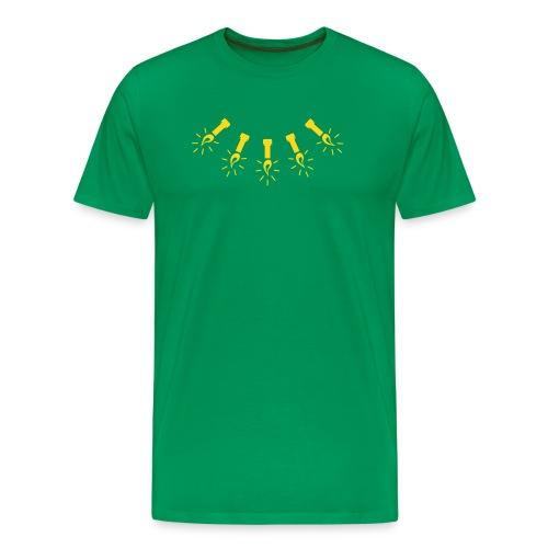 JOULUVALOT vihreä/kullankeltainen - Miesten premium t-paita
