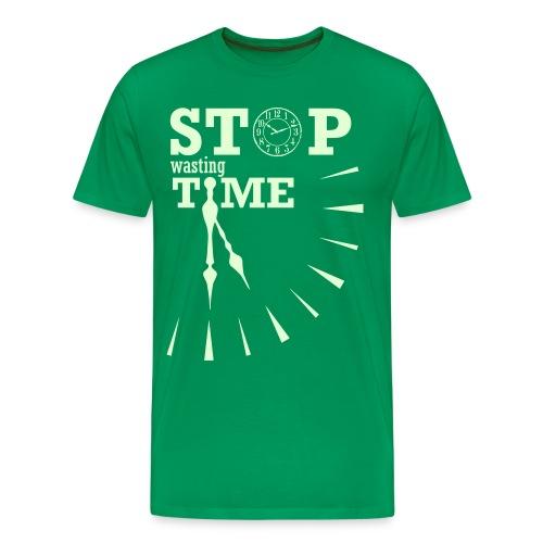 GLOW-STOP WASTING TIME - Maglietta Premium da uomo