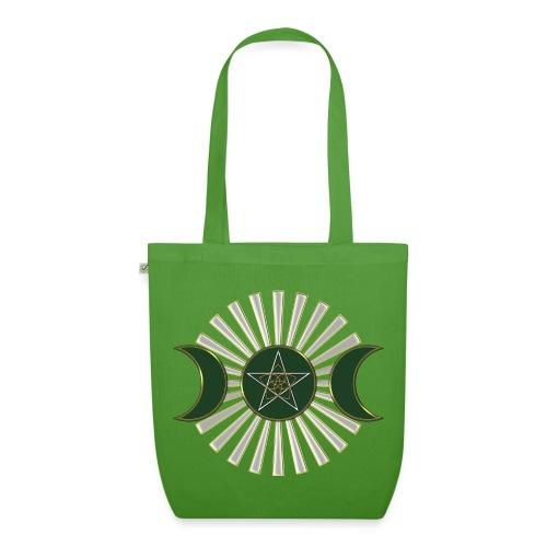 Mond - Pentagramm, Venusblume / grün - Bio-Stoffbeutel