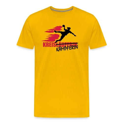 Männer Premium T-Shirt - Shirt Kreiskämpferin in Basic T-Shirt-Form. Mit 2-farbigem Flexdruck vorn.