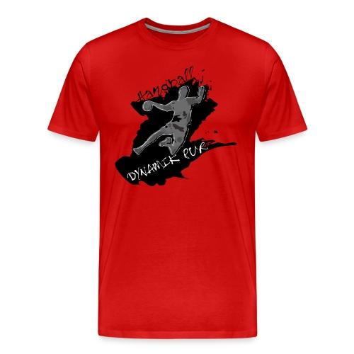 Männer Premium T-Shirt - Das ist Handball: Dynamik pur! Herren Handballshirt mit Digitaldruck in schwarz/grau-Tönen auf der Vorderseite