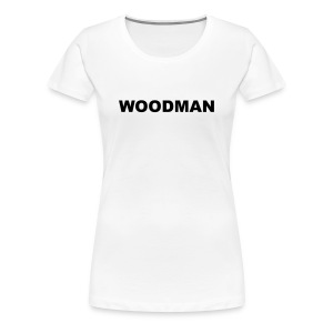 WOODMAN + Spider V2, Women's T-Shirt, black text, F/B - Women's Premium T-Shirt