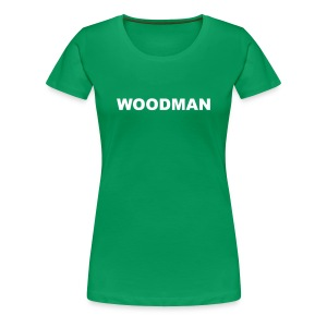 WOODMAN + Spider V2, Women's T-Shirt, white text, F/B - Women's Premium T-Shirt