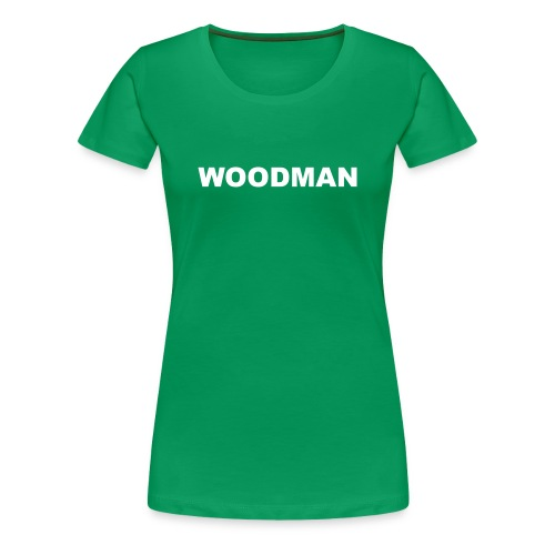 WOODMAN + Spider V2, Women's T-Shirt, white text, F/B - Women's Premium T-Shirt