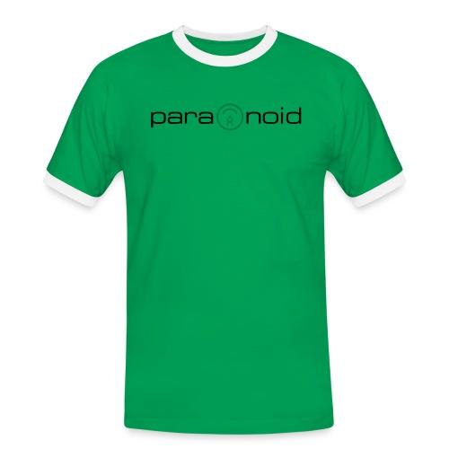 Kontrast-Shirt «paranoid», rot-grün - Männer Kontrast-T-Shirt