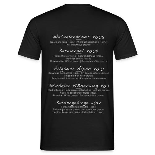 Bergkumpels mit Tourdaten T-Shirt Dunkel - Männer T-Shirt