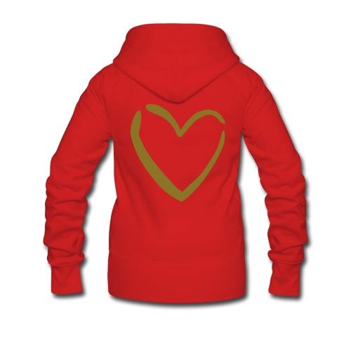 Naisten vetoketjuhuppari (kultainen sydän selässä) - Naisten Girlie svetaritakki premium