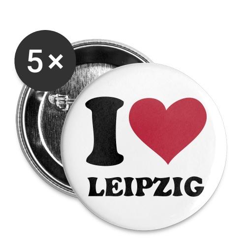 I love Leipzig Button weiß 32 mm - Buttons mittel 32 mm (5er Pack)