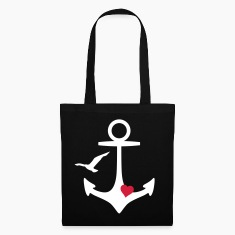 anchor heart and gull Bags & backpacks
