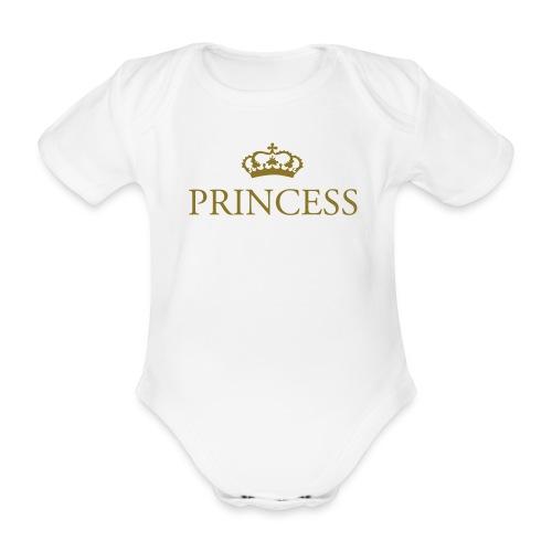 Gin O'Clock Princess Baby Vest - Gold Print - Organic Short-sleeved Baby Bodysuit