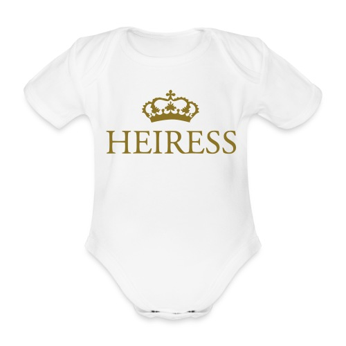 Gin O'Clock Heiress Baby Vest - Gold Print - Organic Short-sleeved Baby Bodysuit