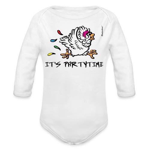 Its Partytime Body weiß - Baby Bio-Langarm-Body