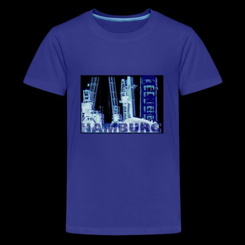 T-Shirt: Hamburger Hafenmotiv Kränen und Hubbrücke - Teenager Premium T-Shirt