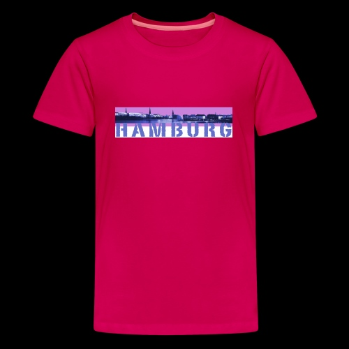 Binnen-Alster Panorama mit  Hamburg-Schriftzug - Teenager Premium T-Shirt