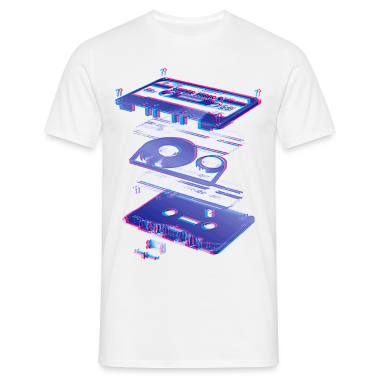 Bianco audio cassette tape compact 80s retro walkman T-shirt