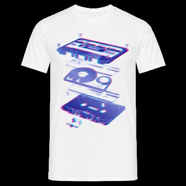 Bianco audio cassette tape compact 80s retro walkman T-shirt