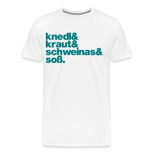 Herrenshirt Knedl - Druck türkis - Männer Premium T-Shirt