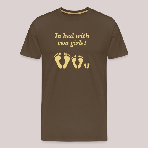 In bed with two girls - Im Bett mit zwei Mädchen - Männer Premium T-Shirt