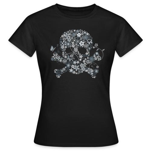 t-shirt tête de mort fleurs blanches (femme) - T-shirt Femme