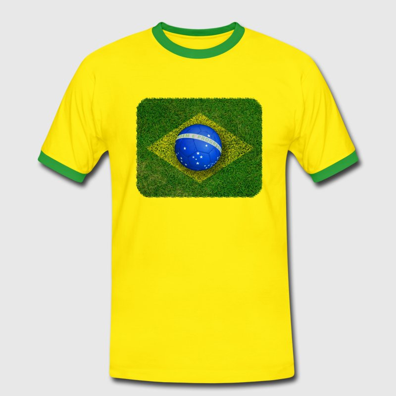 Brazil flag football design T-Shirts - Men's Ringer Shirt