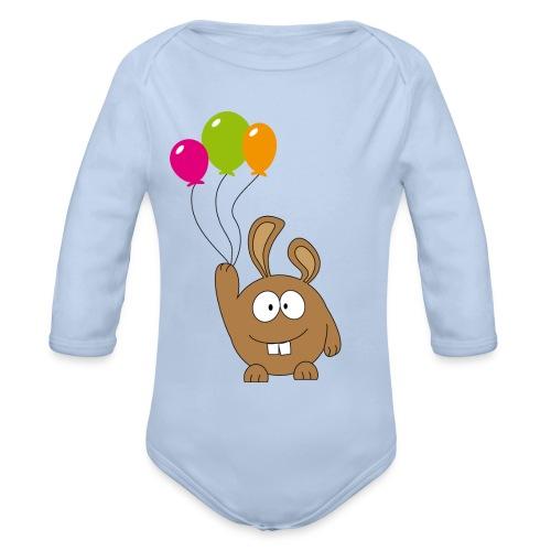 pummeliger Hase mit Ballons - Baby Bio-Langarm-Body