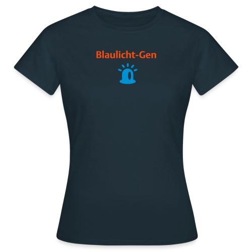 Blaulicht-Gen (Rücken: Logo) - Frauen T-Shirt