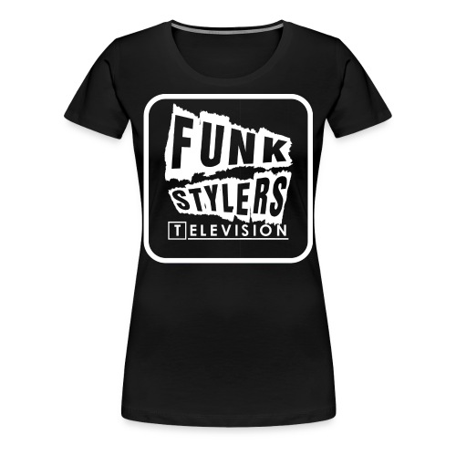 Womens Tee: Bordered - White Text - Women's Premium T-Shirt