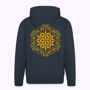 Flower of Life 2 UV-Neon Hooded Jacket - Miesten premium vetoketjullinen huppari