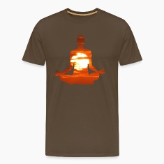 Yoga pose meditating in the sunset. 01 T-Shirts