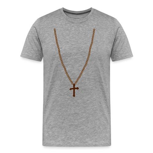 Kette mit Kreuz - Männer Premium T-Shirt