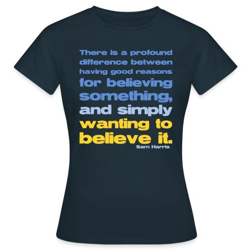 Sam Harris - Reasons For Believing  - Women's T-Shirt