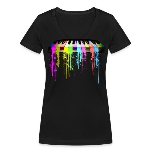 Piano Color - Ekologisk T-shirt med V-ringning dam från Stanley & Stella