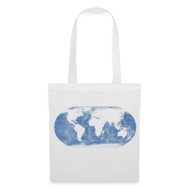 b0934c9bc8704 Stoffbeutel. Weltkarte blau Globus Tasche