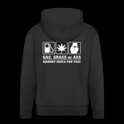 Gas, Grass or Ass - weißer Druck - Männer Premium Kapuzenjacke