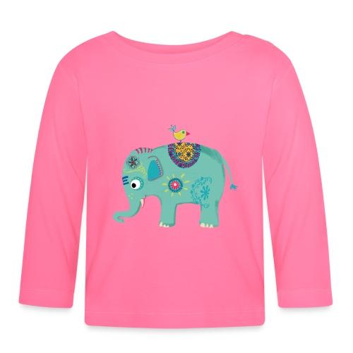 Elefant in rosa - Baby Langarmshirt