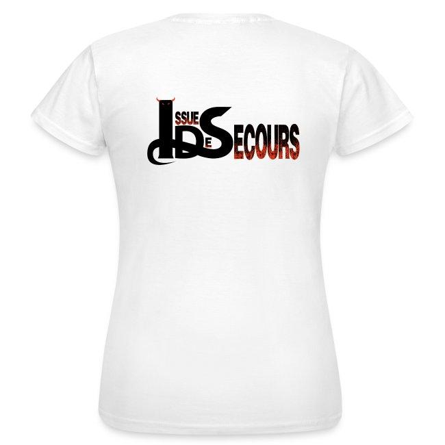 Teeshirt femme IDS blanc - motifs noirs et oranges