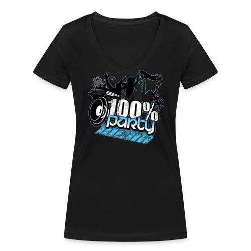 100% PARTY GLÖD (Nyhet)  - Ekologisk T-shirt med V-ringning dam från Stanley & Stella