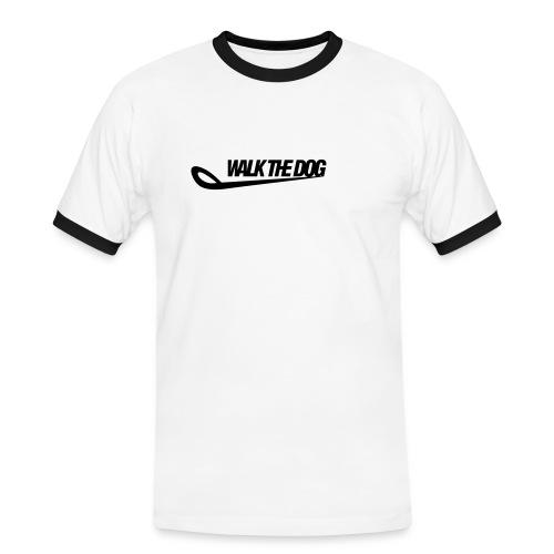 WalkTheDog Logo WEISS - Männer Kontrast-T-Shirt
