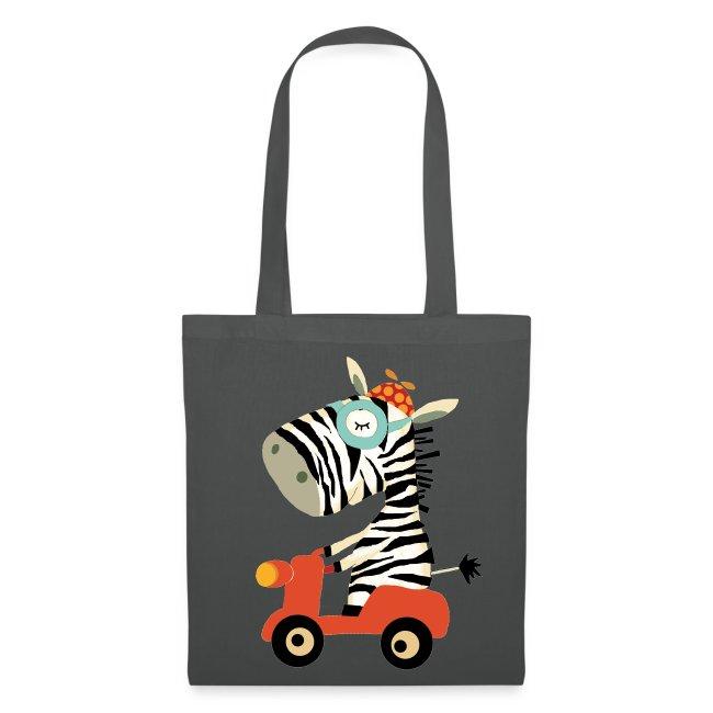 Zebra fährt Roller  - Beutel