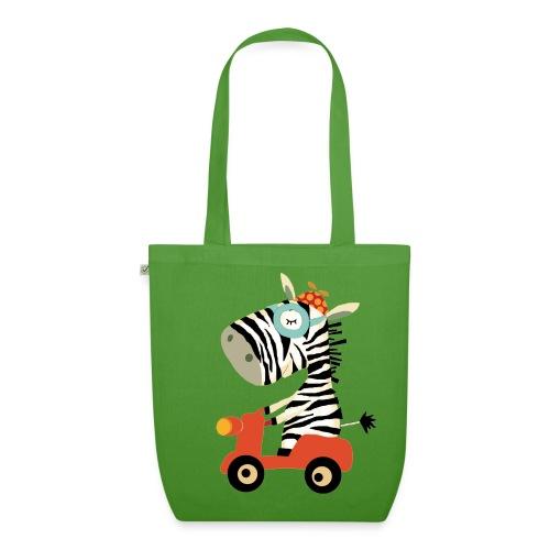 Zebra fährt Roller - organic! - Bio-Stoffbeutel