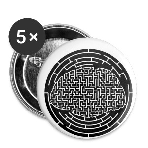 Cerveau labyrinthe plein - Badge petit 25 mm