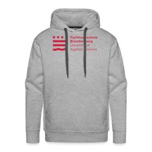 Männer Premium Hoodie - Lässiger Herren-Kapuzenpullover in modischem Grauton mit rotem FHB-Logo. Ideal für die kühleren Tage auf unserem Campus!